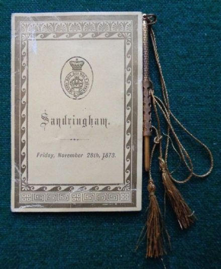 Prince of Wales King Edward VII Hosts Sandringham Dance Card & Gilt Pencil 1873